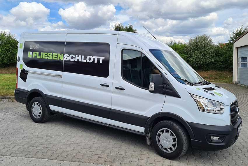 Druckwelt-Trabert-Ostheim-Werbetechnik-Folierung-Fliesen-Schlott-Ford-Bus